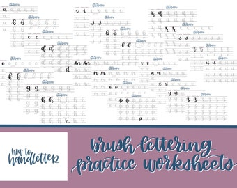 Lettering Worksheets Set 1 - Large Brush Pen or Watercolor Lettering Practice Sheets - Handlettering Practice Sheets
