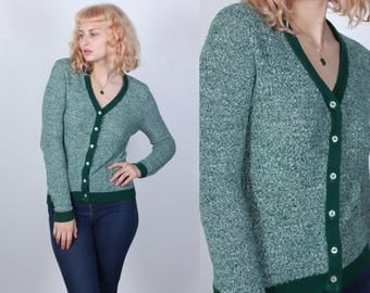70s Knit Cardigan // Vintage Sweater V Neck Fitted Green Button Up Womens - Small