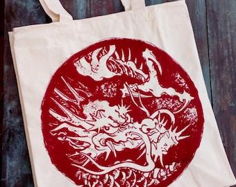 Tote bag extra large cotton reinforced irezumi Tattoo dragon shopabag bag