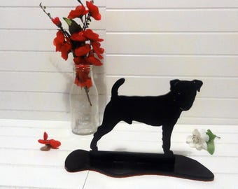 Jack Russel Black Metal Silhouette Dog Ornament by Sityu. 'Berry' Red Felt Base. A Unique Gift or Present For Jack Russel Lovers