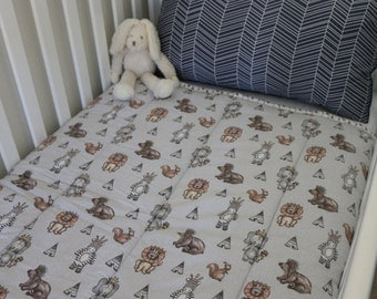 If You Go Into The Woods Today Grey and Multi Cot Quilt