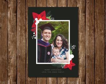 Poinsettia Christmas/Holiday Photo Card - DIY Printable PDF