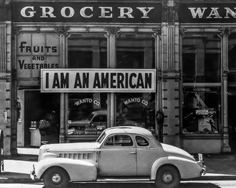 Dorothea Lange - Fine Art Photography - Black and White - Photography - Wall Art Print - I am an American 1942 - Famous Photo - Vintage
