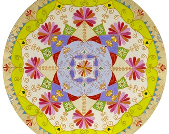"Mandala (reciting the mantra ""Om Gum Ganapatayei Namaha""). Canvas. 1 m in diameter."