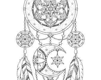 Dreamcatcher coloring page for adults, Mandala adult coloring, Dreamcatcher adult coloring book, Dreamcatcher printable, Dreamcatcher art