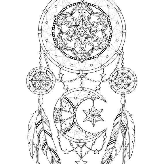 dreamcatcher tattoo template - dreamcatcher coloring page for adults mandala adult coloring