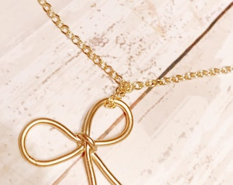 Bow necklace - Gold necklace - Gold bow necklace - Ribbon necklace - Gold ribbon - Gold Bow - Bow pendant - Necklace  - Gold jewelry - Gift