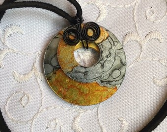 Upcycled Hand Stained Gold ANd Grey Alcohol Ink Double Washer Pendant Necklace-Gift For Her-Made IN Canada