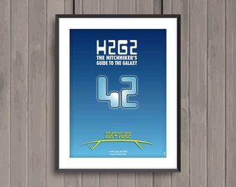 H2G2 The Hitchhiker's Guide to the Galaxy, minimalist movie poster