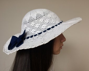 Crochet Sun hat White cotton summer hat