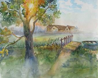 Original Landscape Watercolor landscape Sunrise  Watercolor painting River Watercolor Watercolor art  Home decor  Wall art