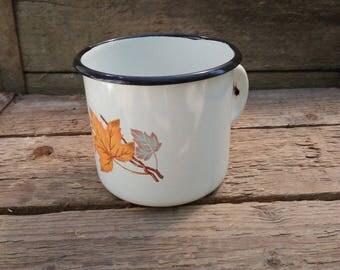 Soviet Vintage White enamelware cup with Maple leaf,Old enamel mug,Soviet enamel cup,Rustic mug,Enamelware mug,Soviet vintage cup,Cup SSSR