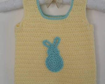 Baby/Toddler - Pullover/Vest - Cute Bunny - yellow/blue - Easter - spring - birthday gift - handmade crochet