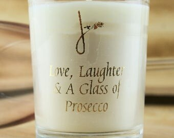 Love, Laughter & A Glass of Prosecco candle