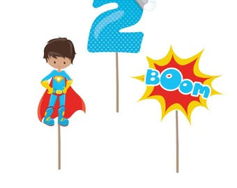 Cupcake Topper, Superhero cupcake toppers, superhero party, superhero birthday, superhero decorations, 2nd birthday, party supplies