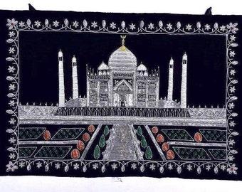 Tajmahal Design Vintage Wall Hanging Handmade Wall Tapestry Gypsy Velvet Throw