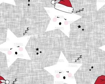 Holiday Stars Linen Fabric by littlearrowdesigncompany