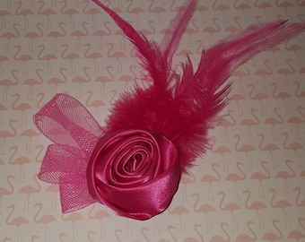 Pink satin ribbon rose clip, Satin rosette hair clip, Pink feather rose hair clip