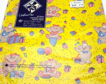 Vintage Cute Bears Having a Party Yellow Wrapping Paper Sealed Birthday Gift Wrap Made in the Canada Craft Supplies Scrapbook Supplies