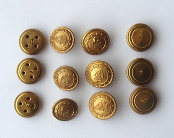 Vintage 12 pcs branded golden buttons shank 6 pcs big and 6 pcs small /// 16 vintage metal buttons