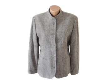 Vintage women blazer wool gray
