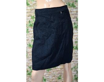Vintage Hirsch women skirt navy blue linen
