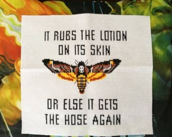 Handmade Silence Of The Lambs Inspired Deaths Head Moth Cross Stitch - Unframed
