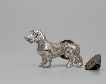 Vakkancs wire haired Dachshund pin (sterling silver)