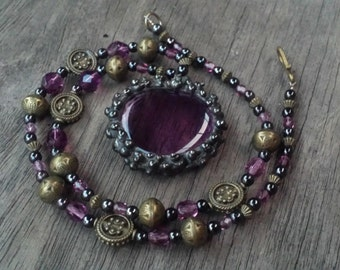 Light Amethyst Stained Glass Soldered Crystal Beaded Necklace by Indigo Mood
