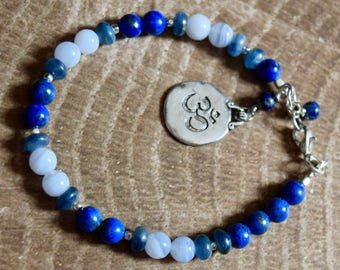Blue Lace Agate and  Lapis Lazuli Bracelet ~ Expression and  Tranquility Bracelet