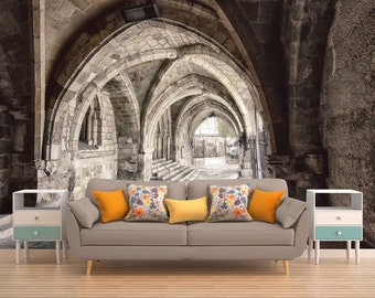 Hogwarts Wall Mural,arches Wall Covering,architecture Wallpaper,perspective  Wall Art,cathedral
