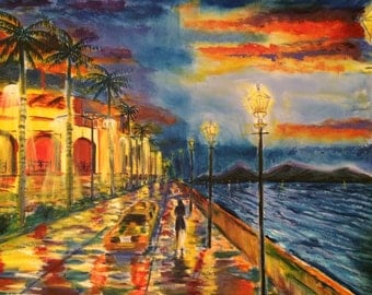 Raining woman umbrella, original, palm trees, oil, boardwalk, alone, taxi,evening, wet sidewalk, ocean