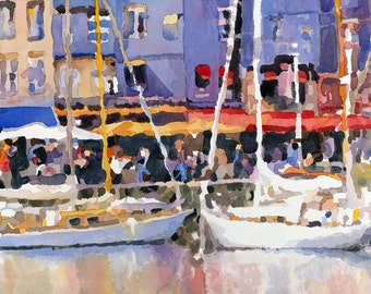Print of Original Watercolor Painting of Honfleur, France, sailboats, umbrellas, French, harbor, reflection, Edie Fagan, people, cafe, boats
