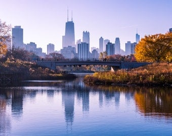 Chicago Skyline from Lincoln Park | Chicago Fine Art Print | Chicago Photo | Chicago Art | Poster | Home Decor