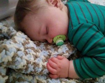 Baby boy blue camo blanket/afghan