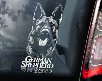 German Shepherd on Board - Car Window Sticker - Alsatian Dog GSD Sign - Decal -V07