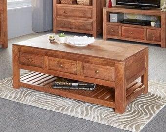 Manhattan 3 drawer coffee table - Handmade in India - Brass handles