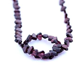 Garnet Beads 5 x 7mm Heart Shape Smooth Round - 15 Inch Strand Beads