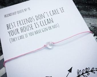 bff wish bracelet, quote wish bracelet, wish bracelet card, birthday gift gin, bff bracelet gift, friend wish bracelet, gin lover card
