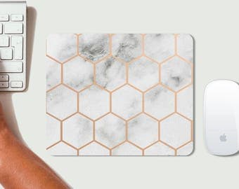 White Marble Hexagon Rose Gold Mouse Mat - Mousepad -modern - gift - Geometric Pattern - Geo Design - High quality PC accessorie - Rectangle