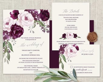 Purple Wedding Invitations Printable Set Plum Watercolor Floral Printed or DIY Print Set Template Watercolor Flowers Boho Wedding Invite Kit