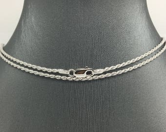 925 Rhodium Sterling Silver Rope Chain