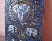 Happy Elephants Mandala wall decor, Indian art, original painting on canvas, dark blue, natural henna painting, yoga, Zen, ready to hang