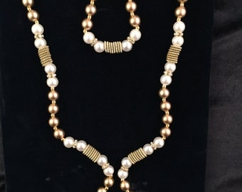 Golden Faux Pearl Long Necklace #35-N