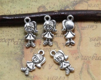 10Sets(20pcs) Boy and Girl Charms Silver tone Lovely Little boys and girls Charm pendants 13x27mm ASD0323