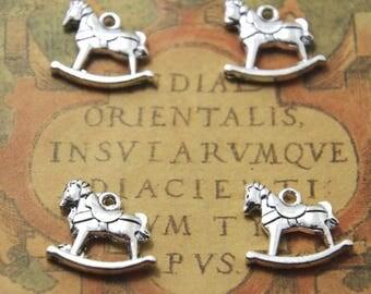 12pcs Rocking Horse Charm Silver Tone 3D rocking horses Charms Pendants 15x15mm ASD01003