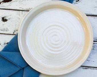 Handmade Ceramic White 9in Pie Plate Pan Dish Ready to Ship