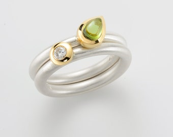 Green TOURMALINE cocktail ring, cab DROPS. , Engagement ring, stacking ring