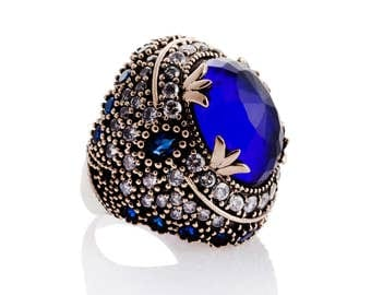 Authentic Ottoman style sterling silver ring with natural stones ZB0034