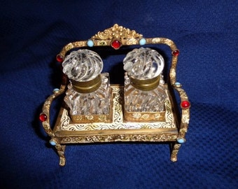 Austro Hungarian Jeweled Scent ,Perfume, Ink Well Stand